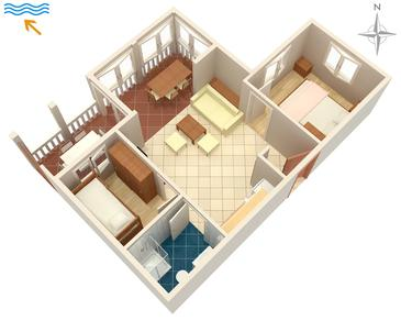 Kampor, Pôdorys v ubytovacej jednotke apartment, WIFI.