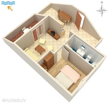 Kampor, Půdorys v ubytování typu apartment, WiFi.