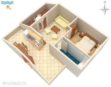 Kampor, Plan in the apartment, WiFi.