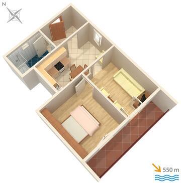 Krk, Proiect în unitate de cazare tip apartment, WiFi.