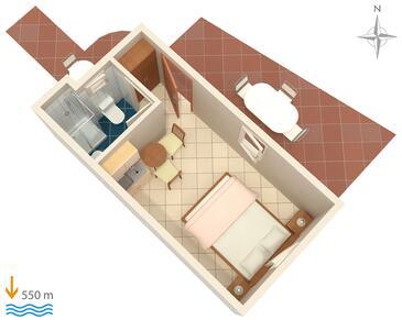 Krk, Pôdorys v ubytovacej jednotke studio-apartment, dopusteni kucni ljubimci i WIFI.
