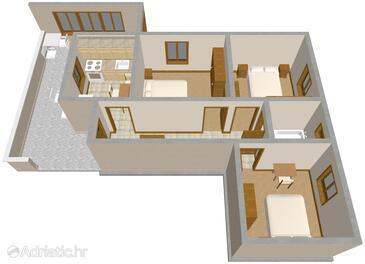 Neviđane, Plan in the apartment.