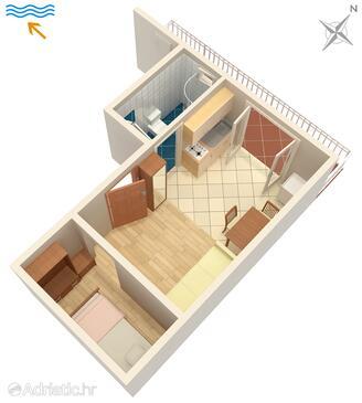 Hvar, Plan in the studio-apartment.