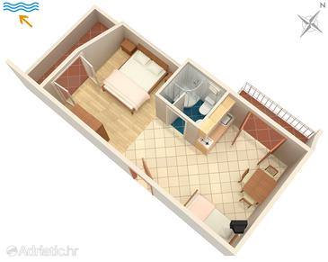 Hvar, Plan in the studio-apartment.