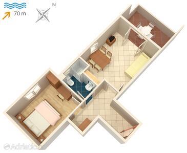 Vinjerac, Půdorys v ubytování typu apartment, domácí mazlíčci povoleni a WiFi.