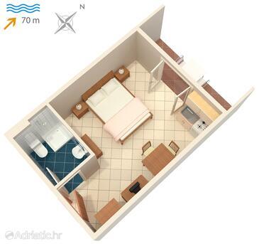 Vinjerac, Nacrt u smještaju tipa studio-apartment, kućni ljubimci dozvoljeni i WiFi.
