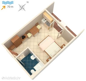 Vinjerac, Plan in the studio-apartment, (pet friendly) and WiFi.