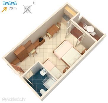 Vinjerac, Půdorys v ubytování typu studio-apartment, domácí mazlíčci povoleni a WiFi.