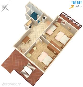 Neviđane, Plan in the apartment, WIFI.