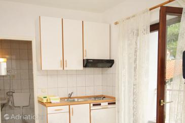 Petrčane, Kitchen in the studio-apartment, dopusteni kucni ljubimci i WIFI.