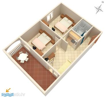 Petrčane, Plan in the apartment, dopusteni kucni ljubimci i WIFI.