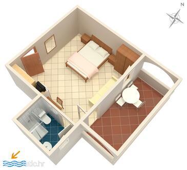 Petrčane, Plan in the studio-apartment, dopusteni kucni ljubimci i WIFI.
