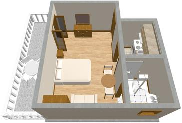 Mrljane, План в размещении типа studio-apartment, WiFi.