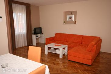 Novalja, Living room in the apartment, (pet friendly) and WiFi.