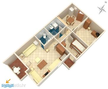 Košljun, План в размещении типа apartment, Домашние животные допускаются и WiFi.