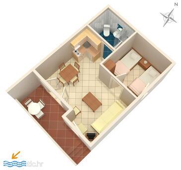 Košljun, Půdorys v ubytování typu apartment, domácí mazlíčci povoleni a WiFi.