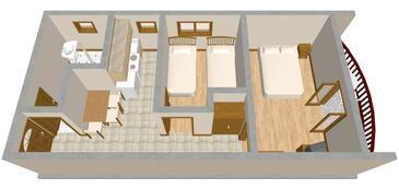 Kraj, Půdorys v ubytování typu apartment, domácí mazlíčci povoleni a WiFi.