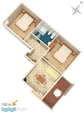 Novigrad, Půdorys v ubytování typu apartment, WIFI.