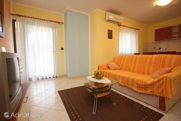 Slavčići, Living room in the apartment, dostupna klima, dopusteni kucni ljubimci i WIFI.