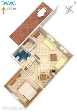 Umag, Půdorys v ubytování typu apartment, domácí mazlíčci povoleni.