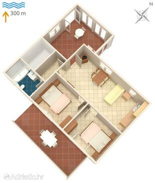Umag, plattegrond in the apartment, (pet friendly).
