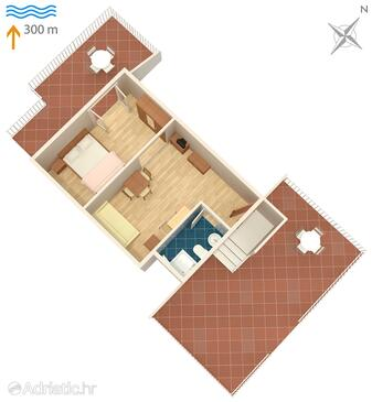Umag, plattegrond in the studio-apartment, (pet friendly).