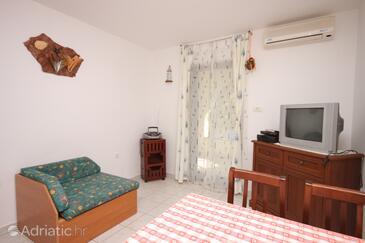 Medulin, Living room in the apartment, dostupna klima i dopusteni kucni ljubimci.