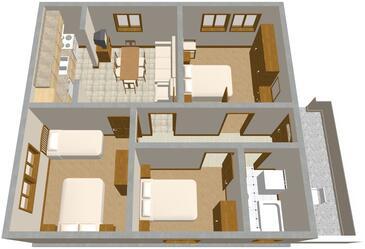 Tkon, Plan kwatery w zakwaterowaniu typu apartment, WIFI.
