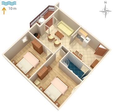 Kraj, Půdorys v ubytování typu apartment, WiFi.