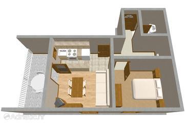 Mali Lošinj, Plan in the apartment.