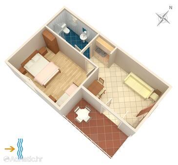 Punta križa, Půdorys v ubytování typu apartment, WiFi.