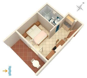 Punta križa, Půdorys v ubytování typu studio-apartment, WiFi.