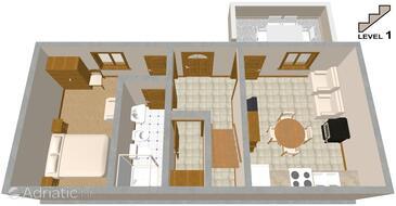 Stivan, Plan kwatery w zakwaterowaniu typu apartment, zwierzęta domowe są dozwolone.