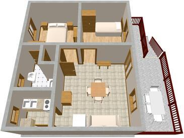 Valun, Půdorys v ubytování typu apartment, WiFi.