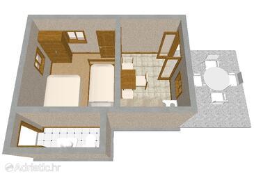 Ripišće, Půdorys v ubytování typu house, domácí mazlíčci povoleni.