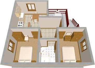 Dumboka, Půdorys v ubytování typu apartment, domácí mazlíčci povoleni.
