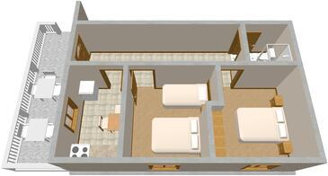 Krknata, Plan dans l'hébergement en type house, animaux acceptés.