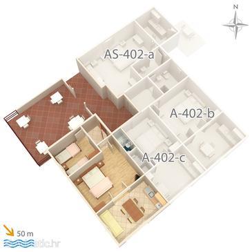 Saplunara, Půdorys v ubytování typu apartment, domácí mazlíčci povoleni a WiFi.