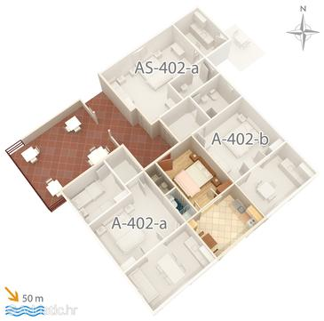 Saplunara, Plan in the apartment, dopusteni kucni ljubimci i WIFI.