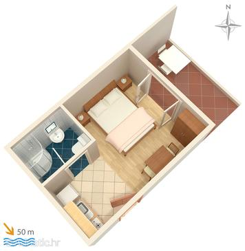 Saplunara, Plan in the studio-apartment, dopusteni kucni ljubimci i WIFI.