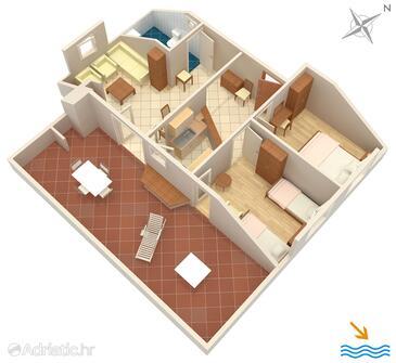 Vrboska, Půdorys v ubytování typu apartment, domácí mazlíčci povoleni a WiFi.