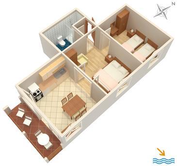 Vrboska, Půdorys v ubytování typu apartment, WiFi.