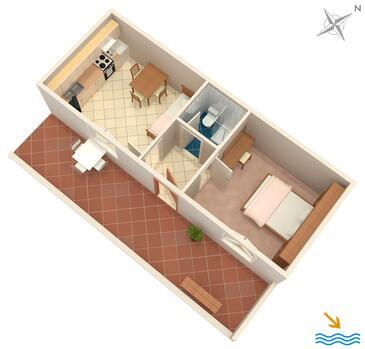 Vrboska, Plan kwatery w zakwaterowaniu typu apartment, dopusteni kucni ljubimci i WIFI.