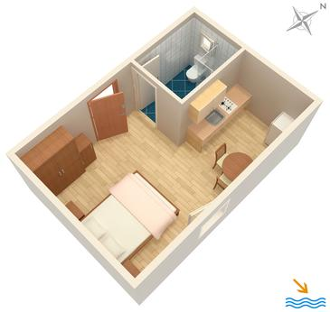 Vrboska, Plan in the studio-apartment, WIFI.