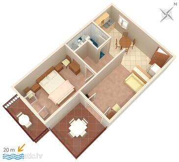 Sućuraj, План в размещении типа apartment, Домашние животные допускаются и WiFi.