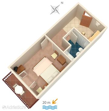 Sućuraj, Plan in the apartment, WIFI.