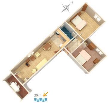 Sućuraj, Plan kwatery w zakwaterowaniu typu apartment, WIFI.