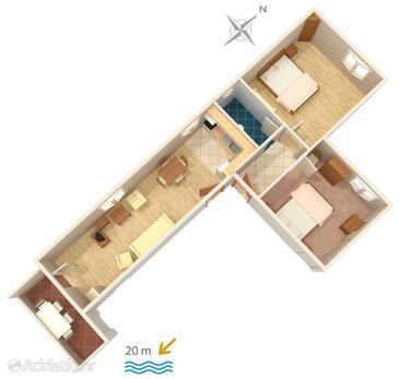 Sućuraj, Plan dans l'hébergement en type apartment, WiFi.