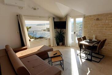Mudri Dolac, Obývací pokoj v ubytování typu apartment, s klimatizací a WiFi.