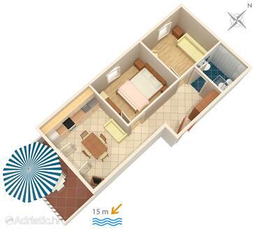 Novalja, Plan in the apartment, WiFi.